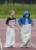 Sack race at an athletics meeting