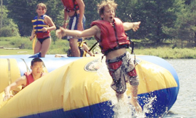 Summer camp fun at the lake of French Woods, NY