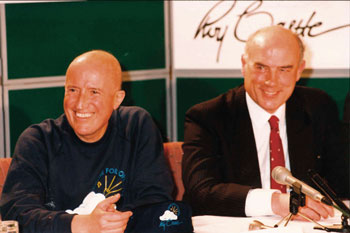Roy Castle with Professor Ray Donnelly