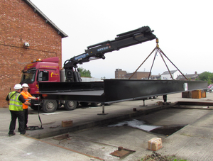Pit weighbridge being lowered into place