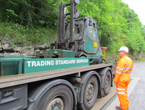 Pit-mounted weighbridge being calibrated in Buxton