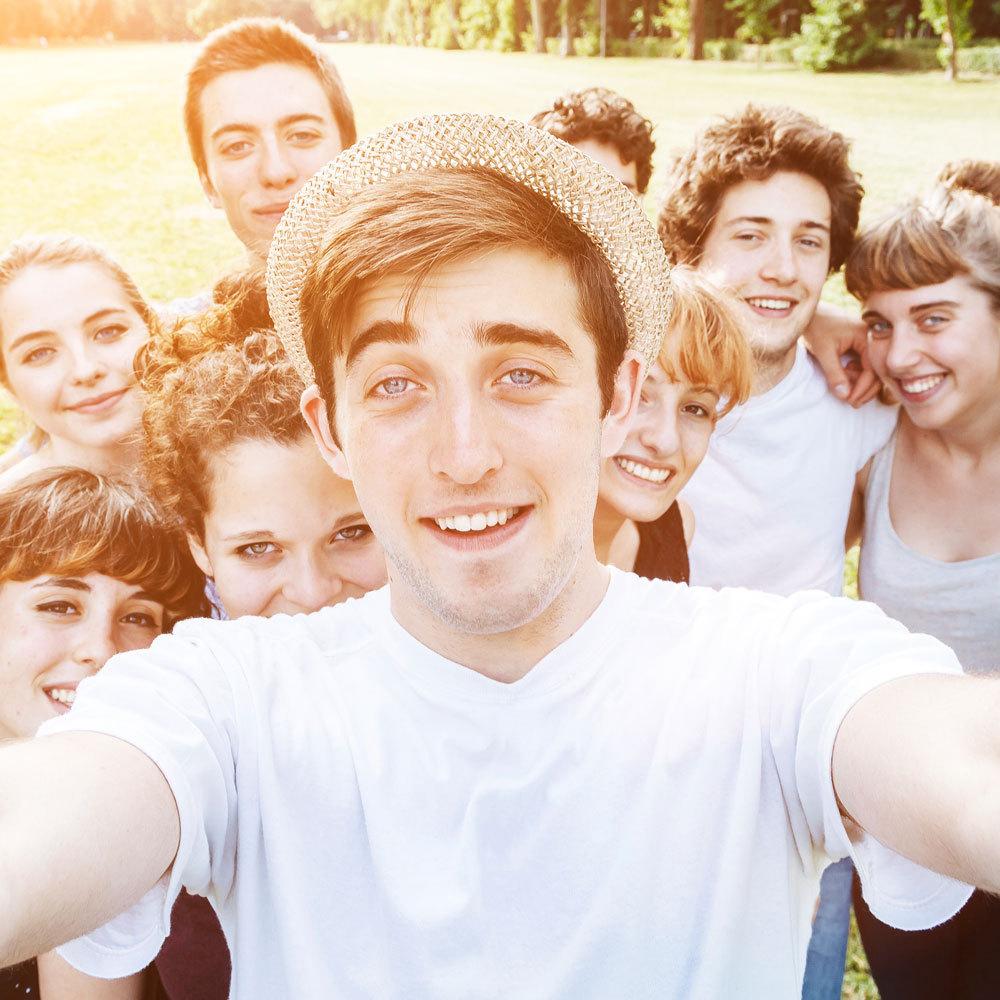 summer camp team selfie