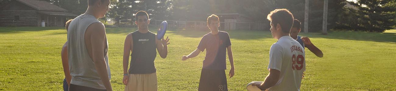 summer camp leaders having fun